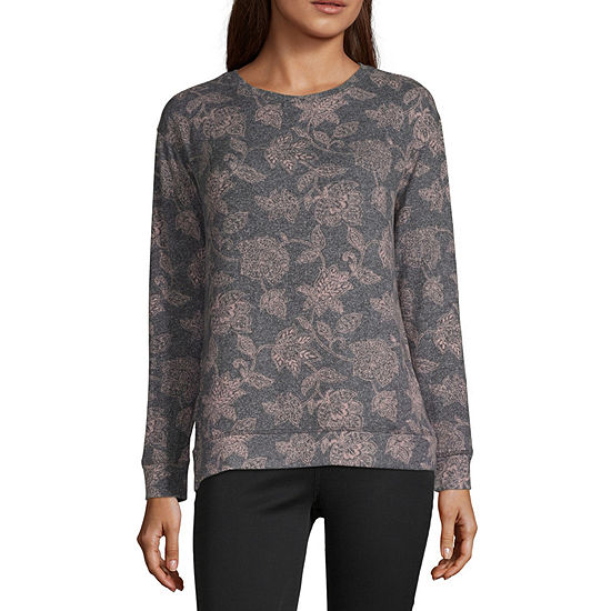 Liz Claiborne Womens Round Neck Long Sleeve Sweatshirt