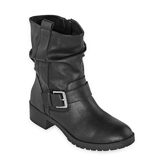 Arizona Womens Gwen Block Heel Zip Motorcycle Boots