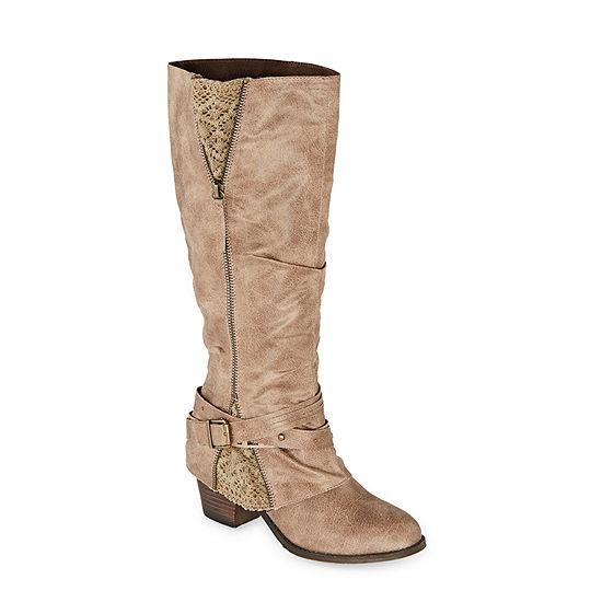 Pop Womens Jordie Stacked Heel Slouch Boots