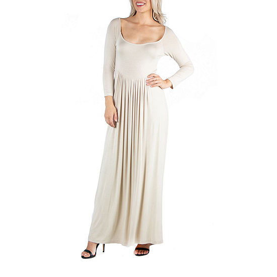 24/7 Comfort Apparel Long Sleeve Pleated Maxi