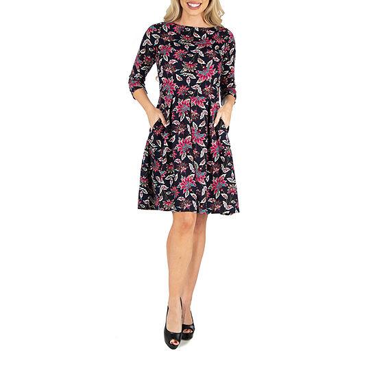 24/7 Comfort Apparel Floral Print Dress
