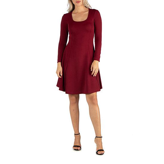 24/7 Comfort Apparel Long Sleeve Flared Dress