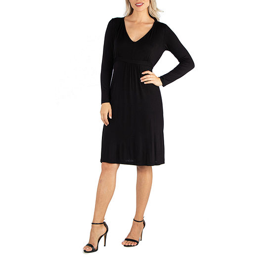 24/7 Comfort Apparel V-Neck Long Sleeve Dress