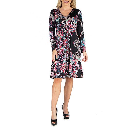 24/7 Comfort Apparel Paisley V-Neck Dress