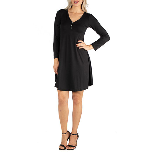 24/7 Comfort Apparel Henley Long Sleeve Dress