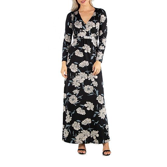 24/7 Comfort Apparel Black Floral Long Sleeve Maxi