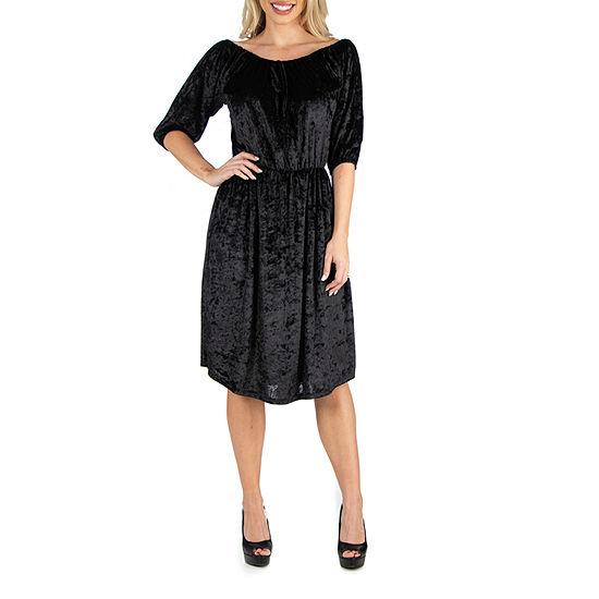 24/7 Comfort Apparel Off Shoulder Dress