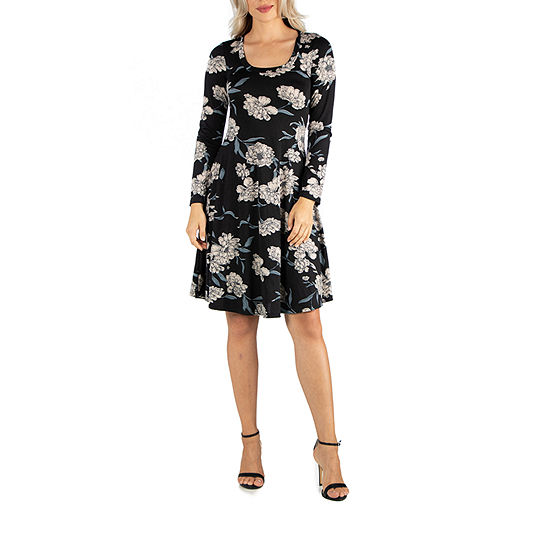 24/7 Comfort Apparel Floral Flared Dress