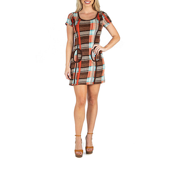 24/7 Comfort Apparel Plaid Shift Dress