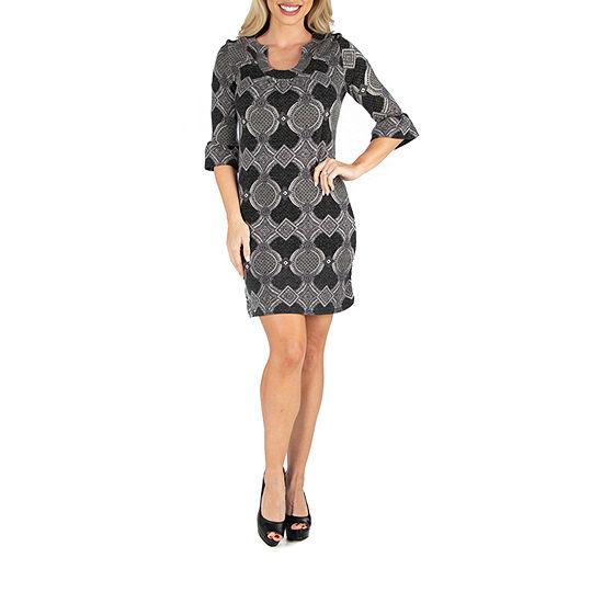 24/7 Comfort Apparel Grey Shift Dress