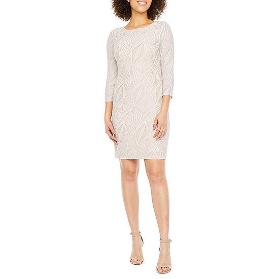 Jessica Howard 3/4 Sleeve Glitter Knit Shift Dress