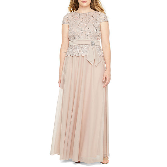 Jackie Jon Short Sleeve Lace Evening Gown