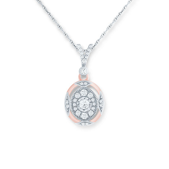 Womens 1/4 CT. T.W. Genuine White Diamond 10K Rose Gold Pendant Necklace