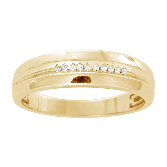 Womens 2.5MM Diamond Accent Genuine White Diamond 10K Gold Band