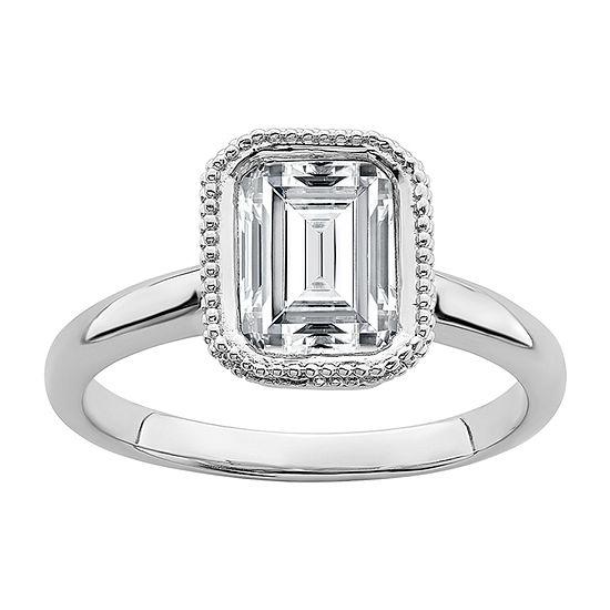 True Light Womens 3 1/4 CT. T.W. Lab Created White Moissanite 14K White Gold Engagement Ring