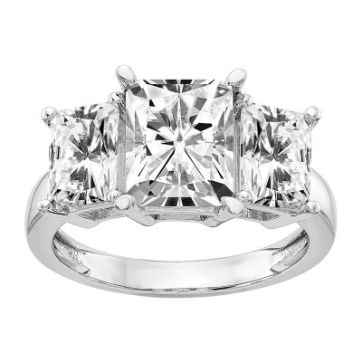 True Light Womens Lab Created White Moissanite 14K White Gold Engagement Ring