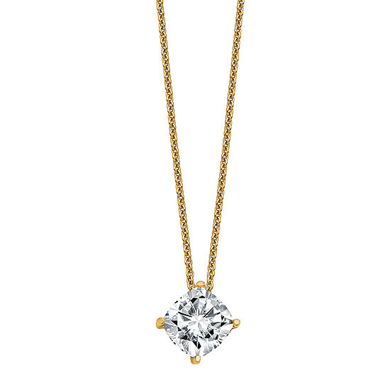 True Light Womens 2 CT. T.W. Lab Created White Moissanite 14K Gold Pendant Necklace