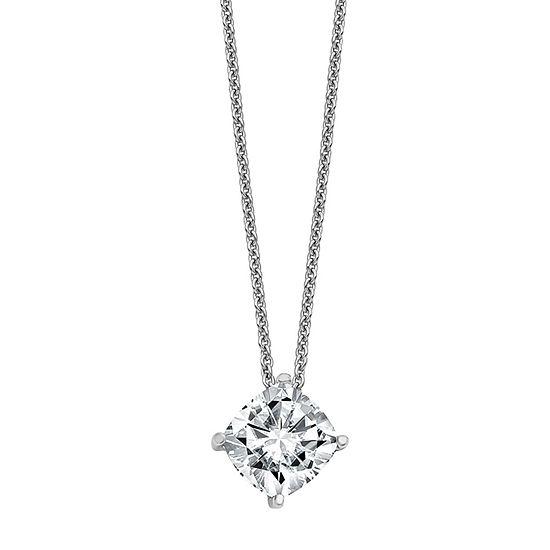 True Light Womens 2 1/2 CT. T.W. Lab Created White Moissanite 14K White Gold Pendant Necklace
