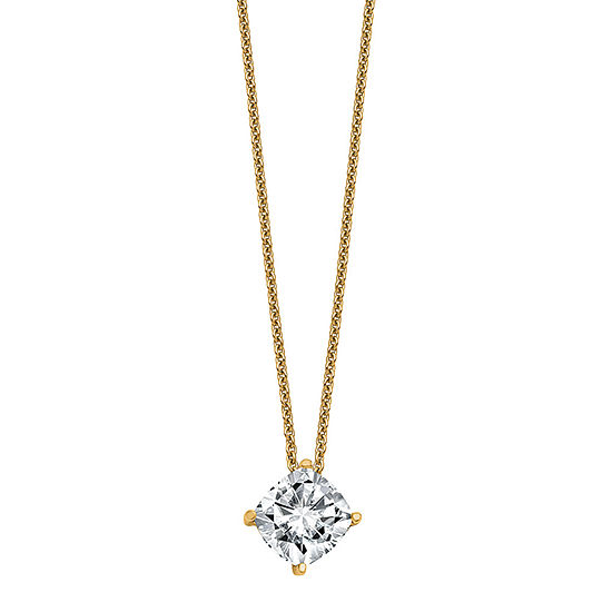 True Light Womens 3 CT. T.W. Lab Created White Moissanite 14K Gold Pendant Necklace