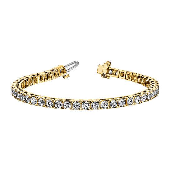 True Light Lab Created White Moissanite 14K Gold 7 Inch Tennis Bracelet