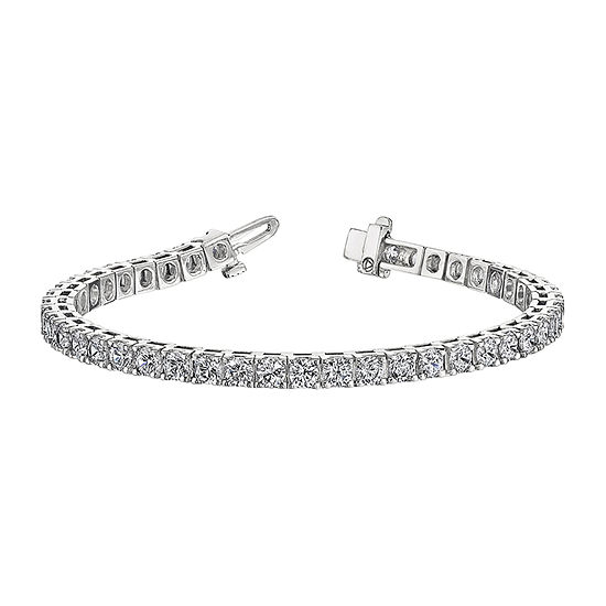 True Light Lab Created White Moissanite 14K White Gold 7 Inch Tennis Bracelet