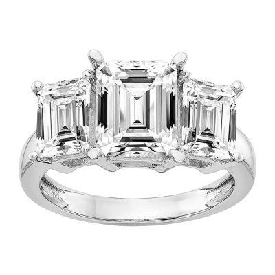 True Light Womens Lab Created White Moissanite 14K White Gold Engagement Ring