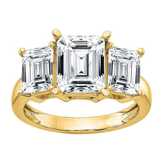 True Light Womens Lab Created White Moissanite 14K Gold Engagement Ring