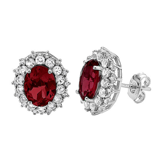 Lab Created Red Ruby Sterling Silver 12.7mm Stud Earrings