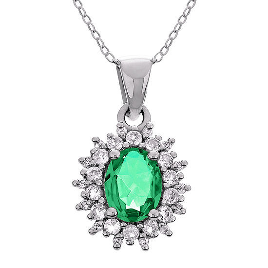 Womens Simulated Green Emerald Sterling Silver Pendant Necklace