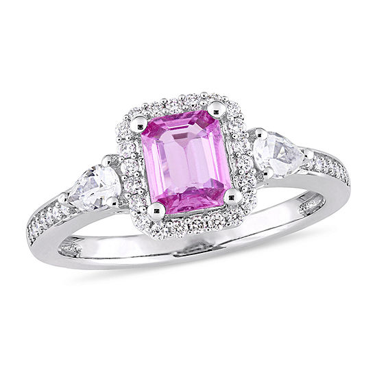 Womens 1/6 CT. T.W. Genuine Pink Sapphire 14K Gold Engagement Ring