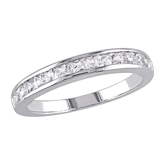 Womens 2MM Lab Created White Sapphire Sterling Silver Band