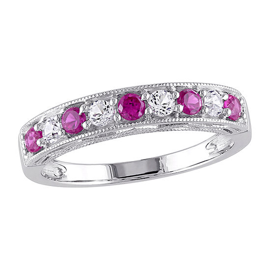 2.5MM Lab Created Red Ruby Sterling Silver Band