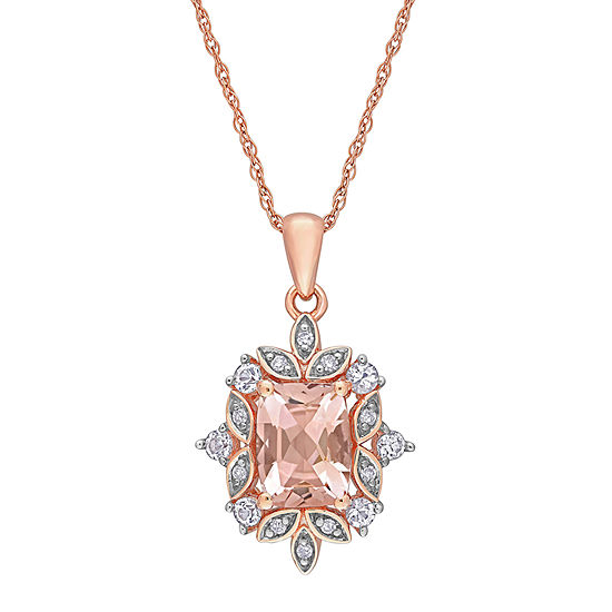 Womens 1 7/8 CT. T.W. Genuine Pink Morganite 10K Rose Gold Square Pendant