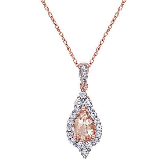 Womens 1 1/6 CT. T.W.  Genuine Pink Morganite 10K Rose Gold Pear Pendant