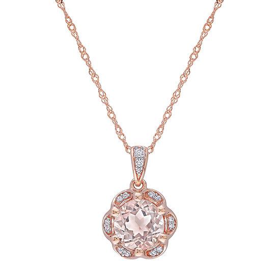 Womens 1 1/6 CT. T.W.  Genuine Pink Morganite 14K Rose Gold Round Pendant