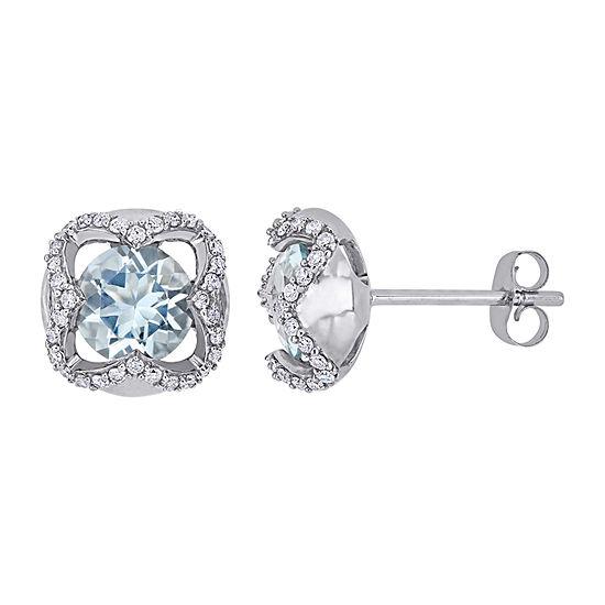1 1/2 CT. T.W. Genuine Blue Aquamarine 10K White Gold 9.5mm Round Stud Earrings