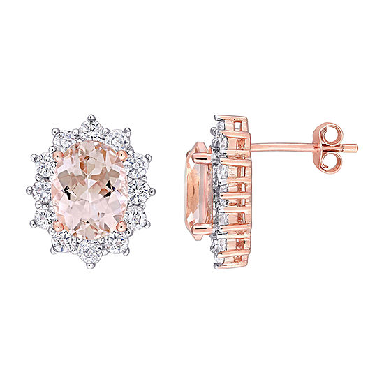 Simulated Pink Morganite 18K Rose Gold Over Silver 11.8mm Stud Earrings