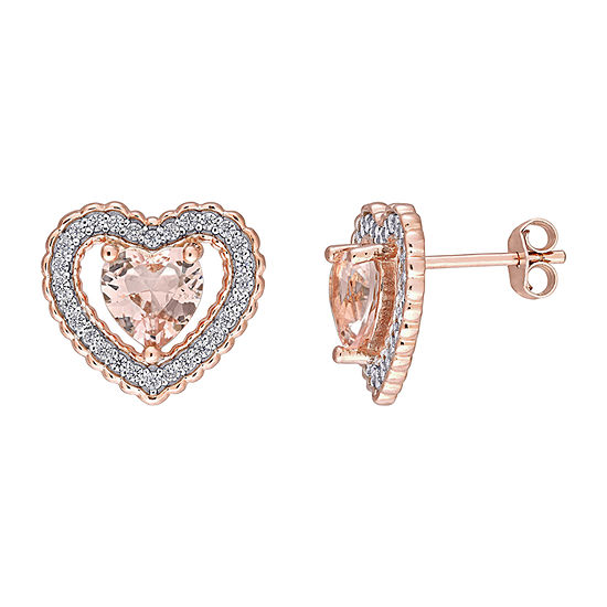Simulated Pink Morganite 18K Rose Gold Over Silver 13mm Heart Stud Earrings