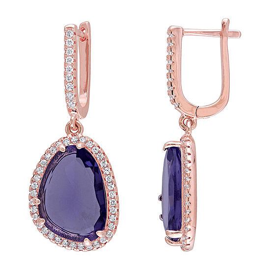 Lab Created Purple Amethyst 18K Rose Gold Over Silver Drop Earrings
