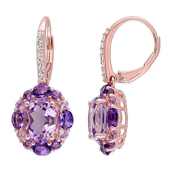 Genuine Purple Amethyst 18K Rose Gold Over Silver Drop Earrings