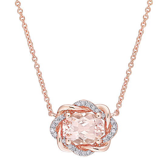 Womens 1/10 CT. T.W. Genuine Pink Morganite 10K Rose Gold Pendant Necklace