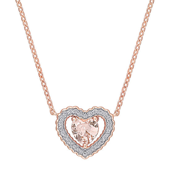 Womens Simulated Pink Morganite 18K Rose Gold Over Silver Heart Pendant Necklace