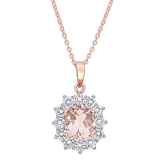 Womens Simulated Pink Morganite 18K Rose Gold Over Silver Pendant Necklace