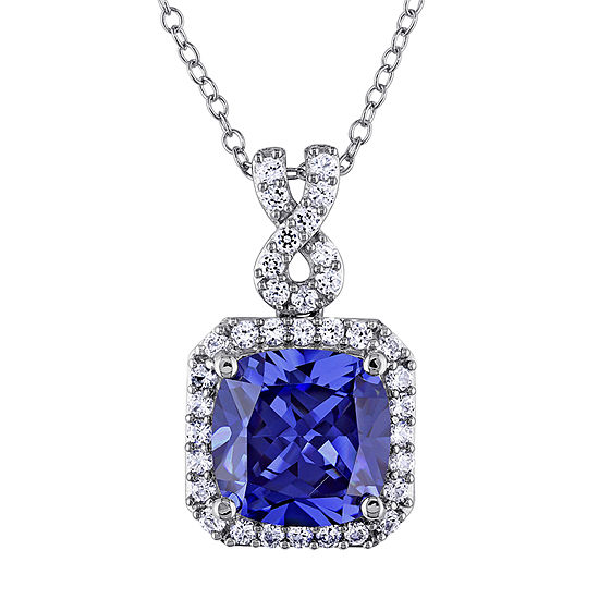 Womens Lab Created Blue Tanzanite Sterling Silver Pendant Necklace