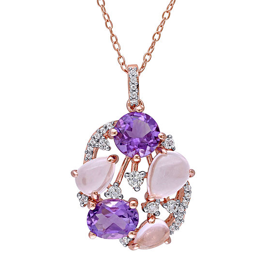Womens Genuine Pink Quartz 18K Rose Gold Over Silver Pendant Necklace