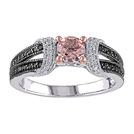 Womens 1/4 CT. T.W. Genuine Pink Morganite Sterling Silver Engagement Ring