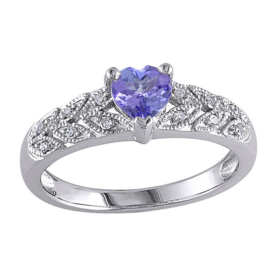 Womens Diamond Accent Genuine Blue Tanzanite Sterling Silver Heart Promise Ring