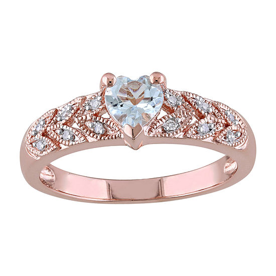 Womens Diamond Accent Genuine Blue Aquamarine 18K Rose Gold Over Silver Heart Promise Ring