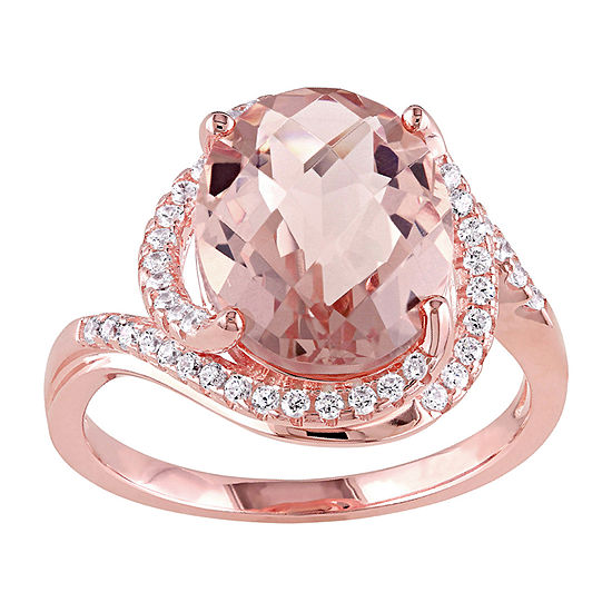 Womens Simulated Pink Morganite 18K Rose Gold Over Silver Cocktail Ring