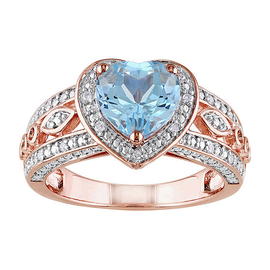 Womens 1/10 CT. T.W. Genuine Blue Topaz 18K Rose Gold Over Silver Heart Cocktail Ring